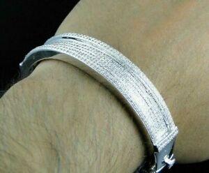 Men's 6.50Ct Round Sim Diamond Wide Bangle Bracelet 14k White Gold FN Free Stud