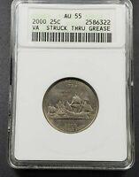 Struck Through Error Thru Grease 2000 P Virginia State Quarter ANACS AU50 Coin