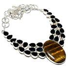 "Tiger'S Eye, Black Onyx Gemstone Silver Jewelry Necklace 18"" MQR-299"