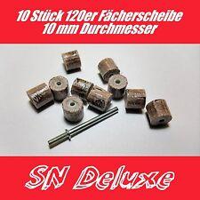 10x Schleifbänder Fächerscheibe 10mm Fächer 120er Körnung Set für Dremel Proxxon
