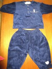 Baby Boys Peter Rabbit navy velour two piece set  Size 00 (approx 6mths) Vintage