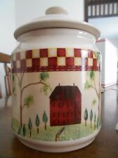 "Country Home Canister Cookie Jar 6 1/2"" Thomson Pottery Stoneware Red White !"