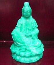 """4"""" Jade Green Color Sitting Kwan Yin Statue (Kuan Yin, Guan Yin)"""