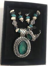 Avon Beaded Chain Medallion Necklace Earrings Ring Gift Set Turquoise Silvertone