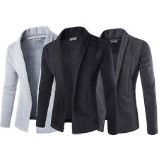 Men's Lapel Collar Casual Formal Cardigan Suit Blazer Coat Slim Fit Jacket Tops