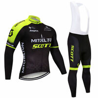 Mens Cycling Jersey Long Bib Bike Motocross MTB Shirt Scott Team Jacket Clothing