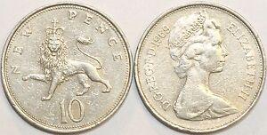 1968 to 1981 Elizabeth II Cupro Nickel Decimal Large 10p Choice of Date / Year