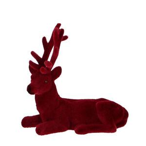 Hirsch TASKO Rosso Scuro Bordeaux Racchiuso Figura di Cervo Con Velour Natale