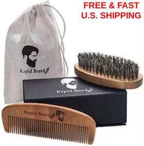 BEARD & Mustache BAMBOO Comb & Natural BOAR Bristle Brush Styling Soft GIFT SET