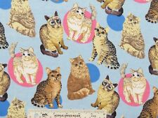 Cats Kittens Kitties Toss Light Blue Childrens Kids Flannel Fabric  BTY (J11) >