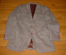 40L Harris Tweed Wool Brown Herringbone Leather Button Blazer Sport Coat Dapper!