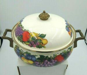 Vintage Cornucopia 3 Qt. Enamel Dutch Oven Brass Handles Fruit Design
