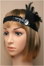 BLACK SEQUIN FEATHER HEADBAND 20s 1920s FANCY DRESS CHARLESTON BROW BAND FLAPPER