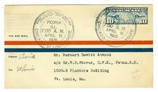 1926 Lindbergh Peoria,Il. To St Louis Flight Cover, Aamc #12, Cam 2S2, Lindy