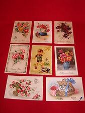 Postcard Bonne Party Set Of 8 / Flowers Cat Child CPA