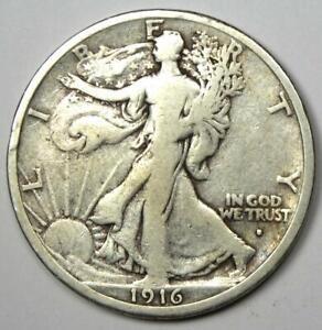 1916-S Walking Liberty Half Dollar 50C Coin - Fine Details - Rare Date!