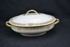Guerin Limoges Covered Oval Vegetable Bowl Gold Trim Winged Cherubs Art Deco