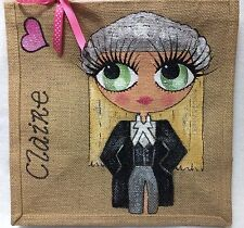 Personalised Handpainted Jute Handbag Hand Bag Solicitor Law Student Style