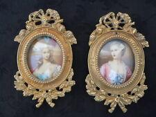 Paire cadres bronze style Louis XVI cadre photo miniature portrait