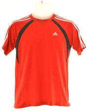 ADIDAS Boys T-Shirt Top 13-14 Years Red Cotton  W007