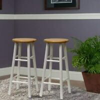 Set of 2 Classic Bar Stools Ample Round Seat Dining Kitchen Nook Chair Two Toned