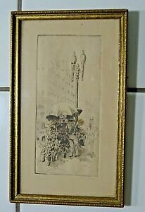 "EDSON NEWELL ""Flower Mart"" Artist SIGNED Hand Colored Etching Framed Art"
