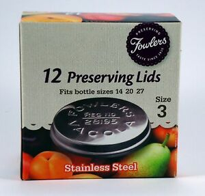 Fowlers Vacola Preserving Stainless Steel Lids size 3, 12 lids, NEW