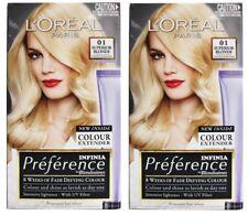 2 x LOREAL S/P PERMANENT BLONDE HAIR COLOUR 01 SUPERIOR BLONDE PLATINUM New