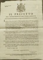 1806 37) BANDO NAPOLEONICO CON CUI TREVISO FESTEGGIAVA COMPLEANNO DI NAPOLEONE