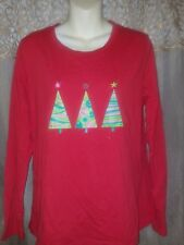 Women's Large Christmas Tree Print 100% Cotton Knit Top by SB Active-Comfy Fit!