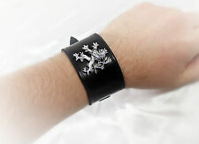 Leather Medieval Lion Cuff/Bracelet -- Lannister/Jewelry/Silver/Armor/Bracers