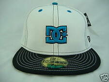 New Mens DC Shoes Jasper 7 5/8 Fitted White Turquoise Hat 59 50 Fifty 60.6 cm