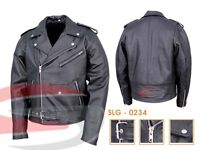 MENS MOTORCYCLE MOTORBIKE CLASSIC BRANDO PREMIUM BLACK SOFT COW LEATHER JACKET
