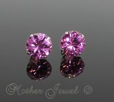 REAL SOLID 925 STERLING SILVER 10MM BABY PINK OCTOBER BIRTHSTONE STUDS EARRINGS