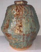 "Studio Art Pottery Large Weed Vase Green & Brown 12"" x 10"" Unique Vintage"