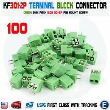 100PCS KF301-2p 5.08mm 2 Pin Plug-in Screw Terminal Block Connector 5mm Green