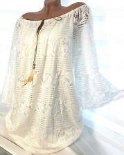 Gr.46-48-50 Damen Long Tunika Merlin (Weiß) Volant Spitzen Shirt Hemd Bluse