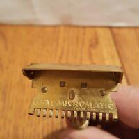 GEM Micromatic Open Comb Vintage Single Edge Safety Razor Brass