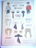 Vintage 1911 Huge Fashion Page EDWARDIAN Schoolgirl Neckwear Lace Collars Illus