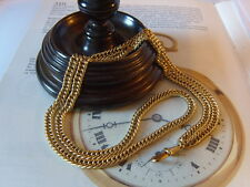 VICTORIAN REVIVAL LADIES LONG 12CT GOLD/P GUARD/WATCH CHAIN & DOG CLIP. C~1950's
