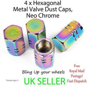 4X Neo Chrome Rainbow Hexagonal Alloy Valve Stem Dust Caps Car BMX bike