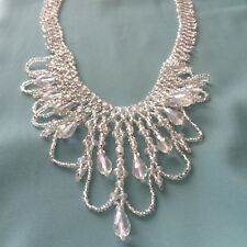 "Artist 19"" Czech Glass Bead Clear CRYSTAL Cascade Bib CHANDELIER Necklace"