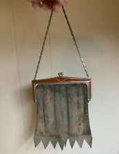 Whiting & Davis Dresden Mesh Purse Brown Frame Good Condition Faded Neutral Tone