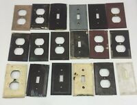 Vtg Lot Of 18 UNILINE BRYANT BROWN Antique LIGHT SWITCH PLATES COVERS