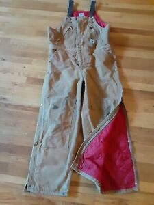 Vintage Mens Carhartt Bibs Made in USA Insulated Coveralls Xl 40x30 work farm