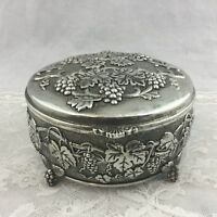 Vintage Ornate Silver Plate Round Footed Trinket Box Grapes Leaves Lined