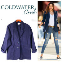 Coldwater Creek 1X 16 18 Blazer Jacket Navy Blue Linen Blend Career Casual   oo