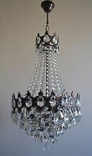 Vintage French Basket Style Brass & Crystals Chandelier Antique Ceiling Lamp