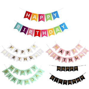 Pastel Happy Birthday Bunting Garland Gold Alphabet Party Hanging Banner Décor