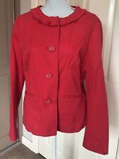 Boden Dark Pink Ruffle Neck Jacket. Size 18. Cotton. Wedding Summer Buttoned